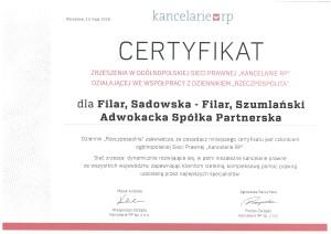 Kancelarie RP certyfikat